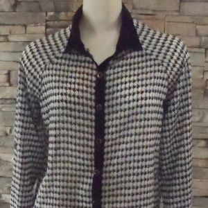 Button-Down Blouse Houndstooth Print Blouse sz. S